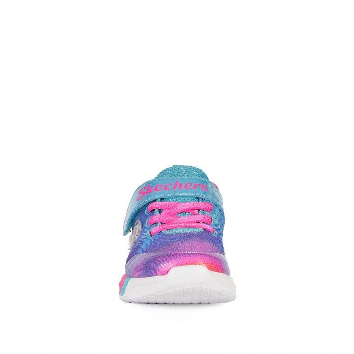 Zapatillas deporte Skechers con reflejos de colores lilas, naranjas y rosas - Querol online