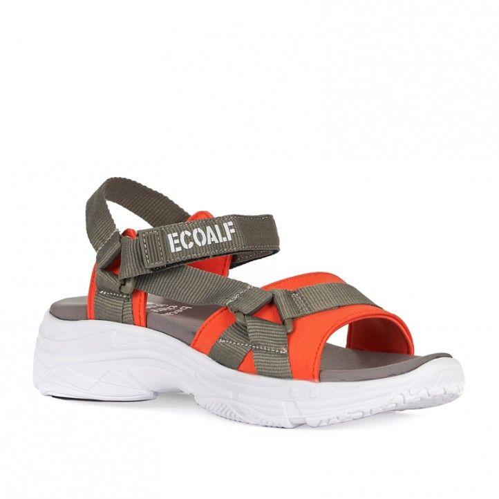 Sandalias plataformas ECOALF marrones con detalles naranjas - Querol online