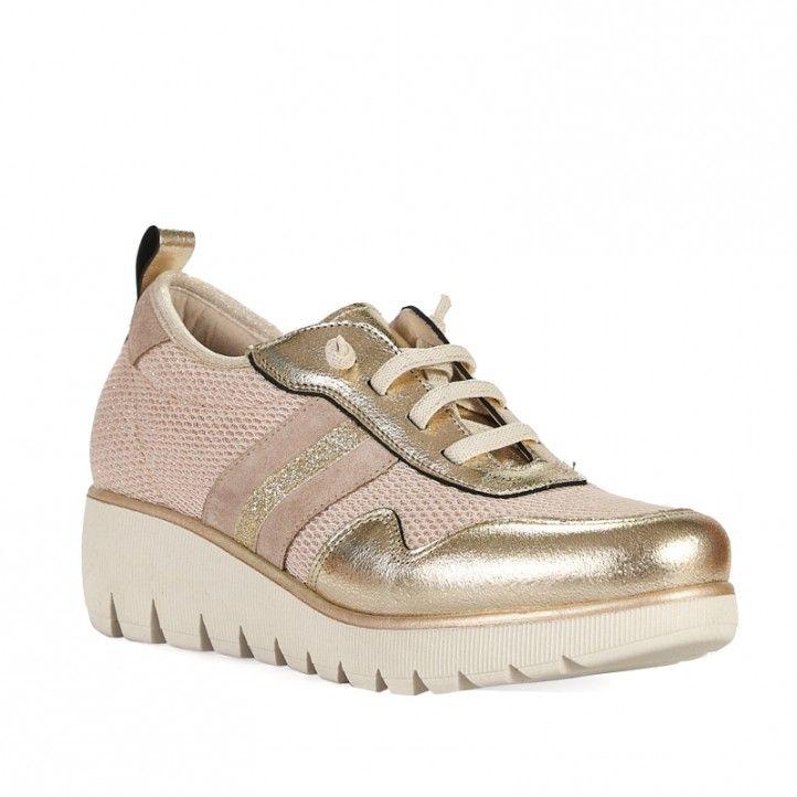 Zapatillas deportivas Redlove doradas con cuña - Querol online