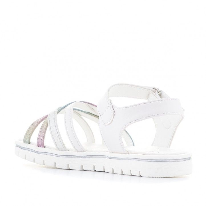 sandalias Xti blancas con detalles multicolor - Querol online