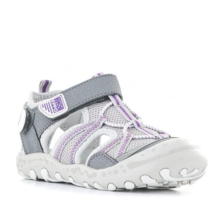 sandalias Gioseppo grises con detalles en lila - Querol online