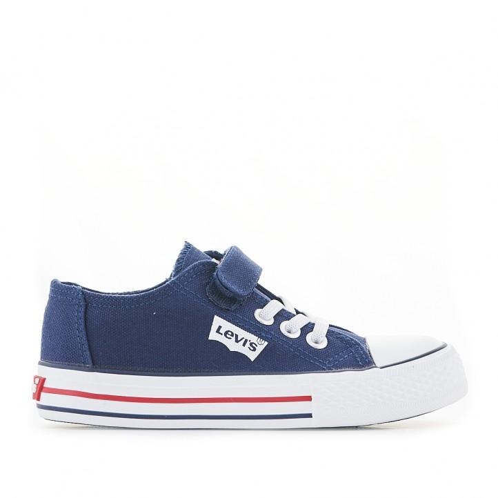 Zapatillas lona Levi's azul marino de lona con cierre de cordones elásticos y velcro - Querol online