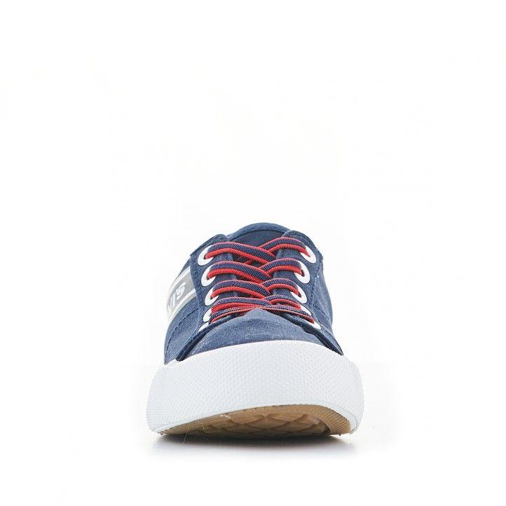Zapatillas lona Levi's azules con línea azul y roja - Querol online