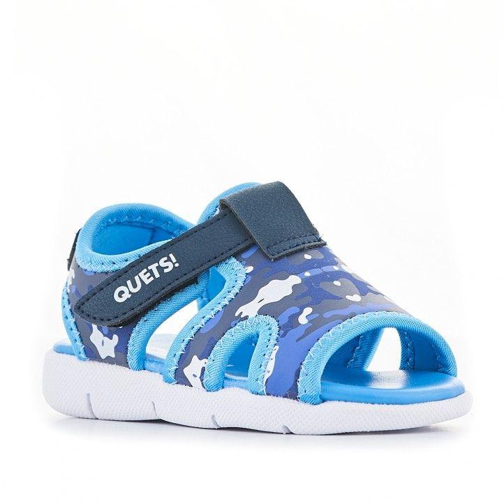 chanclas QUETS! azules de piscina con detalles militares - Querol online