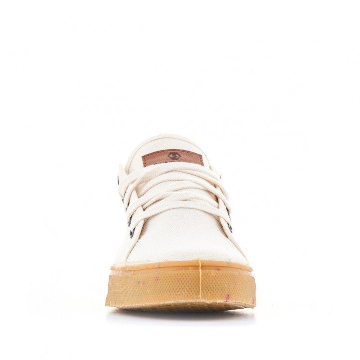 Zapatillas lona SHOECOLOGY beige y cordones - Querol online