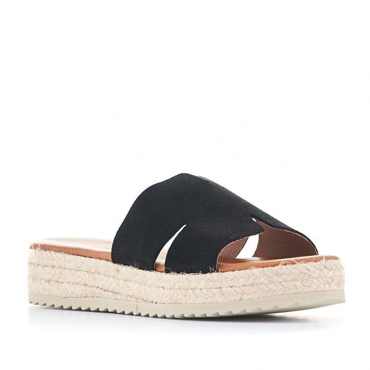 Sandalias plataformas Redlove de color negras y suela de esparto - Querol online