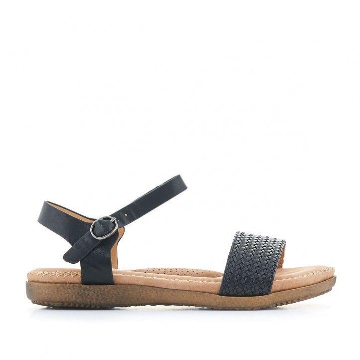 Sandalias planas You Too negras con pala delantera trenzada - Querol online