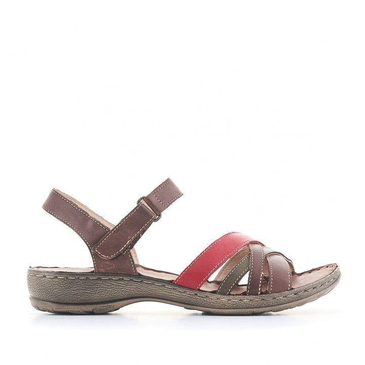 Sandàlies planes Walk & Fly marrons amb una tira vermella - Querol online