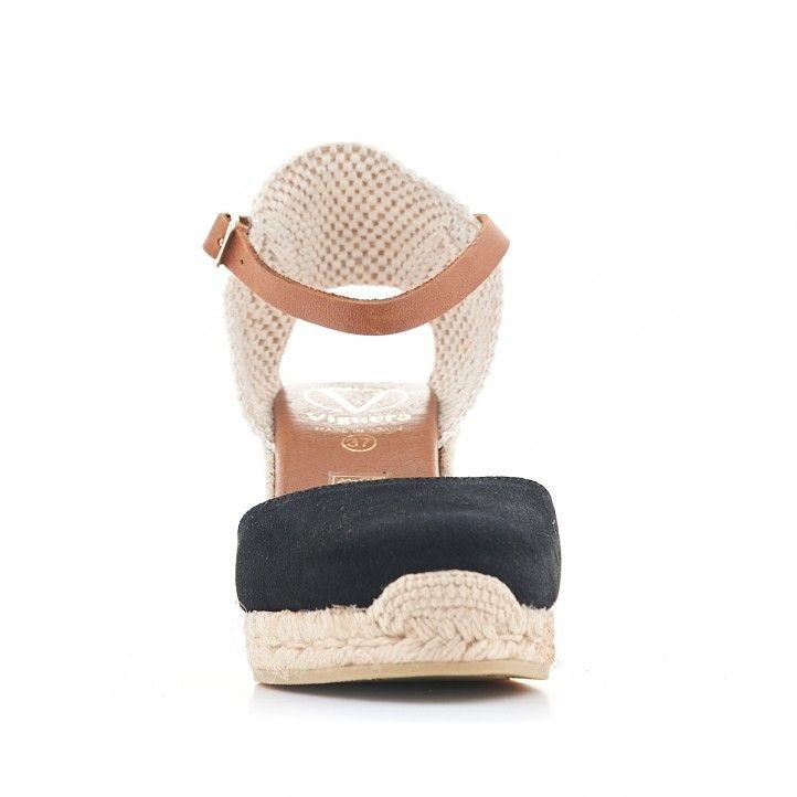 Sandalias cuña Viguera de esparto negras - Querol online
