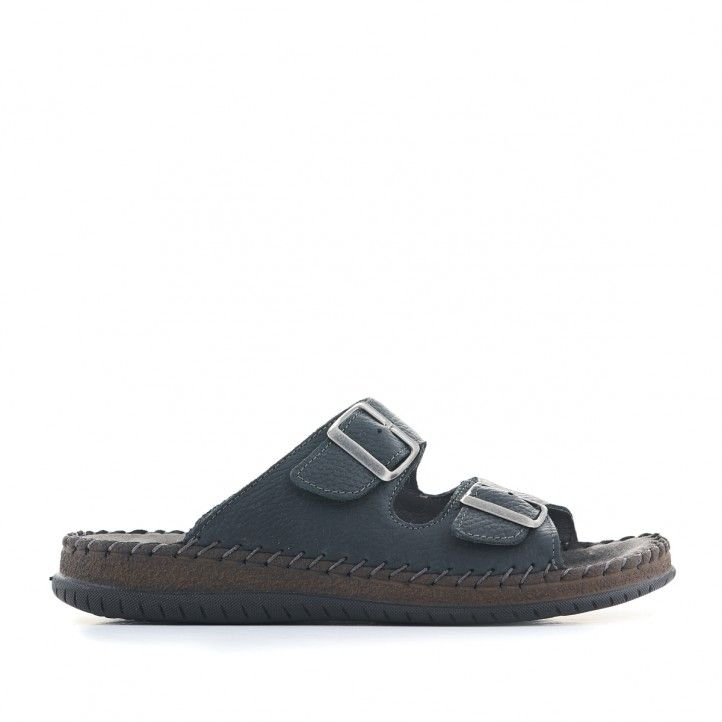 Sandàlies Walk & Fly negres de cuir i doble tira - Querol online