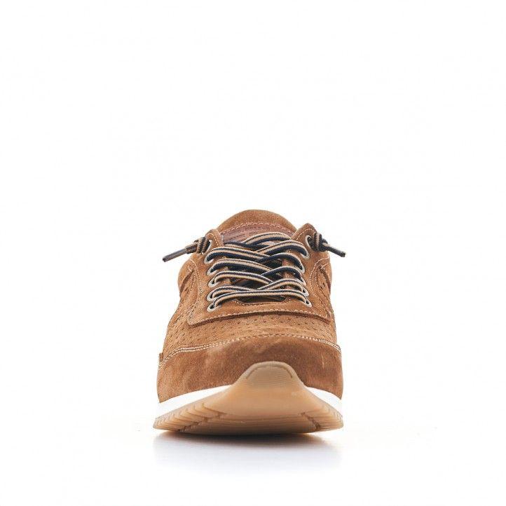 Zapatos sport Lobo marrones con piel agujereada - Querol online