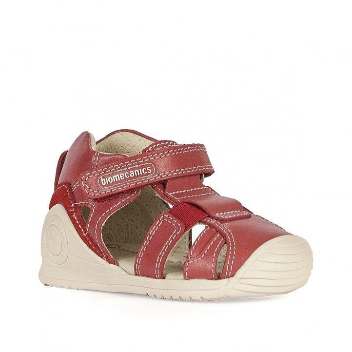 Sandalias abotinadas Biomecanics de piel rojas con interior blanco - Querol online