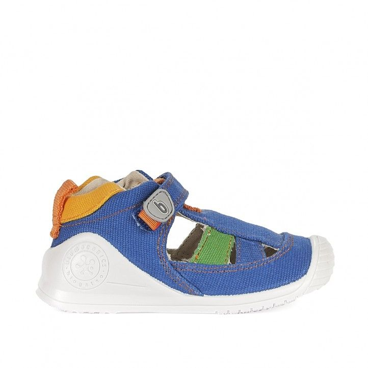 Sandàlies abotinades Biomecanics blaves amb detalls verds i taronges - Querol online