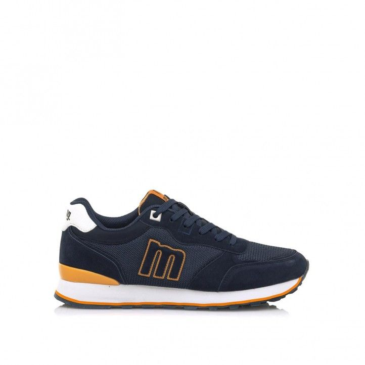 Zapatillas deportivas Mustang en azul con detalles en mostaza - Querol online