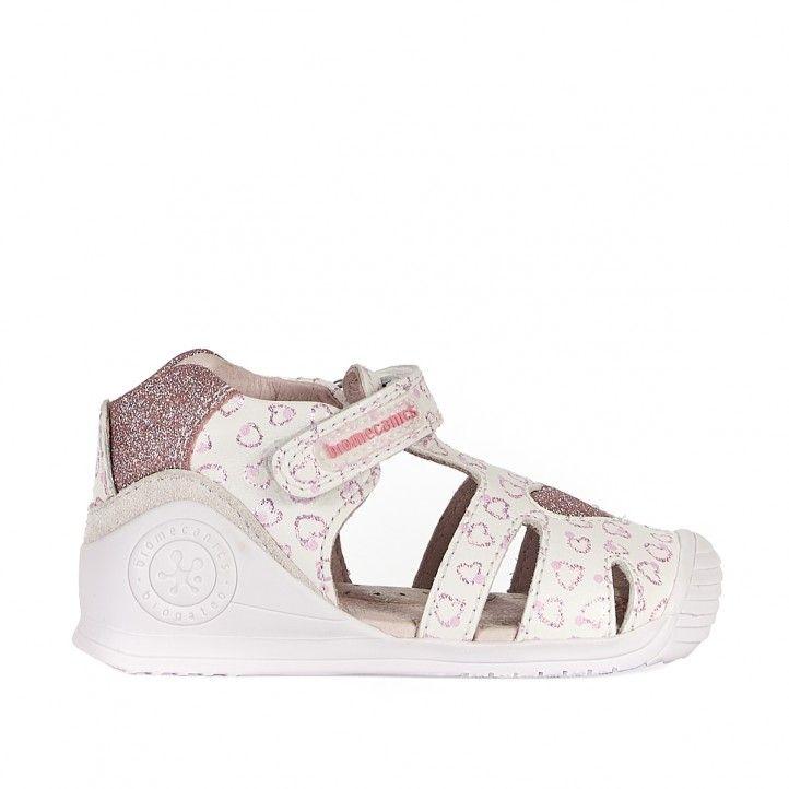 Sandalias abotinadas Biomecanics blancas con estampados de corazones - Querol online