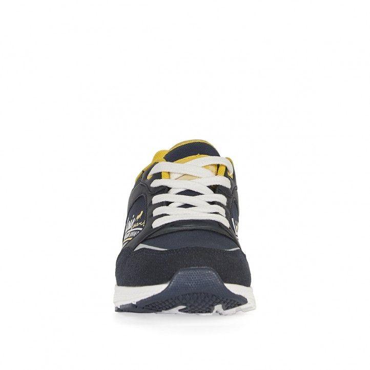 Zapatillas deporte Lois azules con cordones en blanco y detalles en amarillo - Querol online