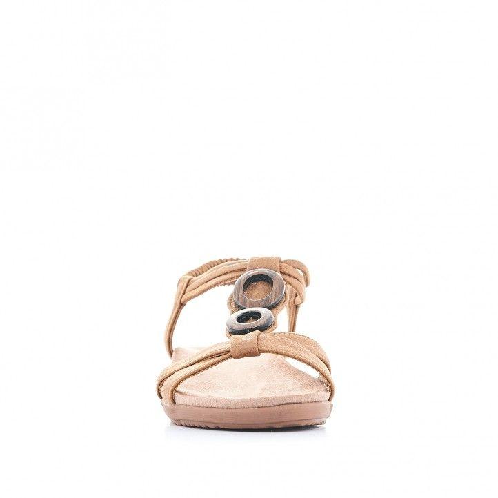 Sandàlies planes Amarpies amb tira marró doble i detall de fusta - Querol online