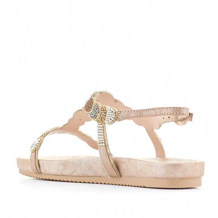 Sandalias planas Alma en pena color crema con piedras de colores - Querol online
