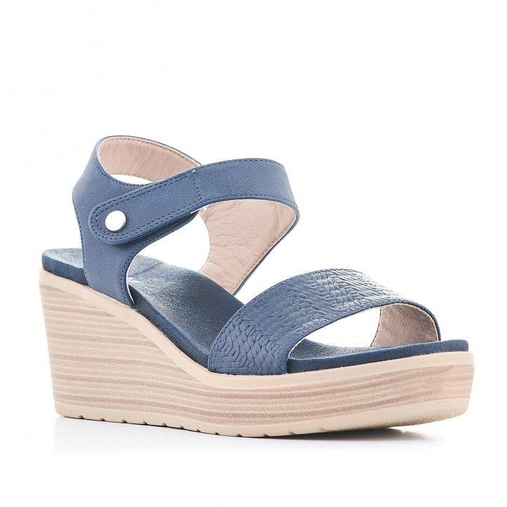 Sandàlies falca You Too blaves amb botó d'enganxament - Querol online