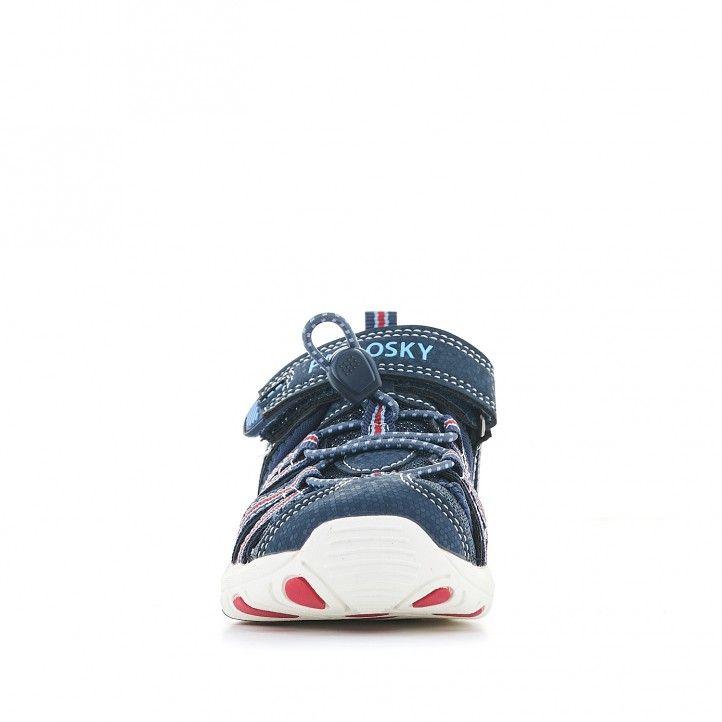 sandalias Pablosky azules con acabados en rojo - Querol online