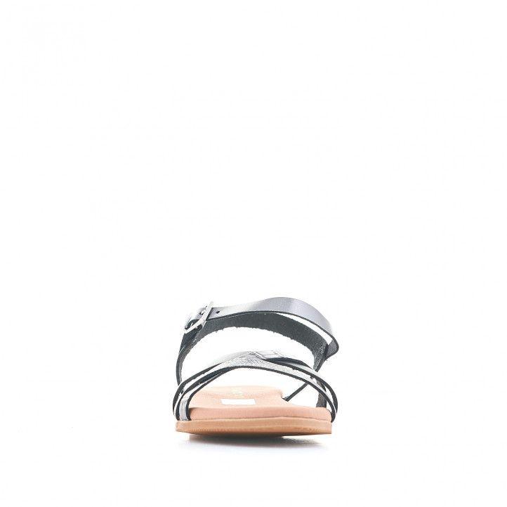 Sandalias planas Suite009 negras con tiras de varias texturas - Querol online