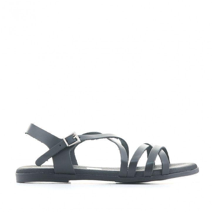 Sandàlies planes Suite009 negres amb diverses tires primes - Querol online