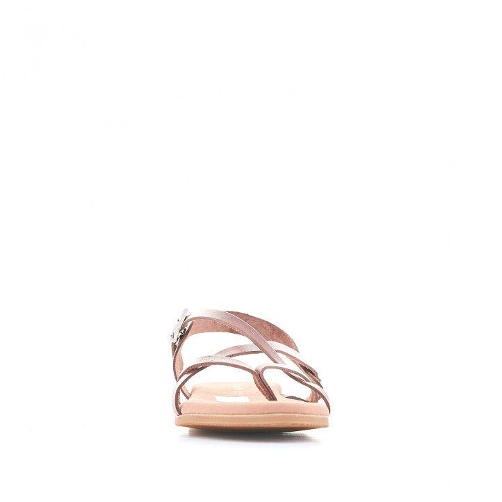 Sandalias planas Suite009 marrones con hebilla lateral - Querol online