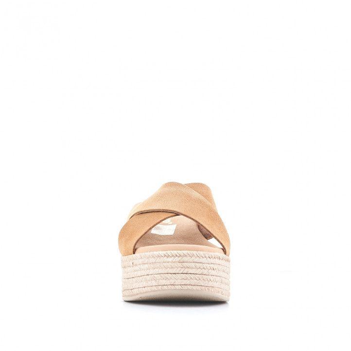 Sandalias plataformas Redlove con doble tira cruzada y marrones claro - Querol online