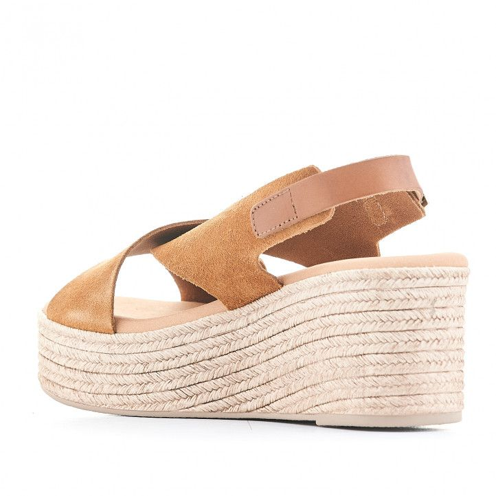 Sandalias plataformas Redlove amb doble tira marrón i agafada al turmell - Querol online