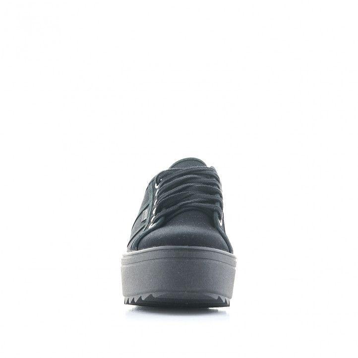 Zapatillas lona Victoria negra con cordones y suela dentada - Querol online