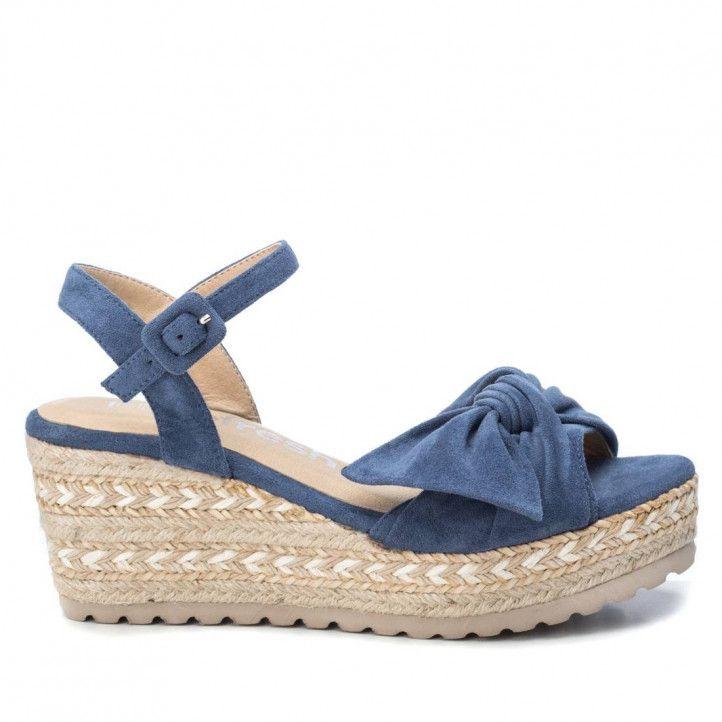 Sandalias cuña Refresh azules con lazo frontal - Querol online