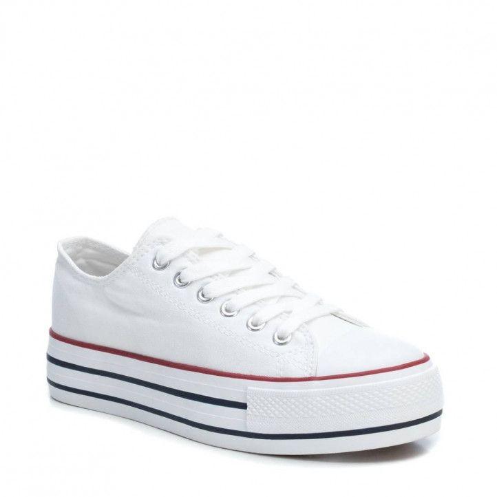 Zapatillas lona Refresh con plataforma blancas - Querol online