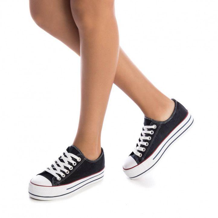 Zapatillas lona Refresh con plataforma negras - Querol online