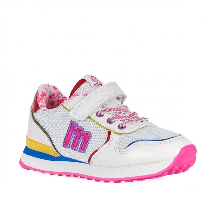 Zapatillas deporte MustangKids blancas con suela rosa - Querol online