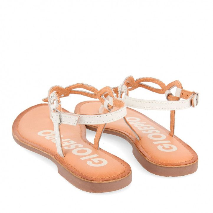 Sandalias planas Gioseppo trenzada blanca - Querol online