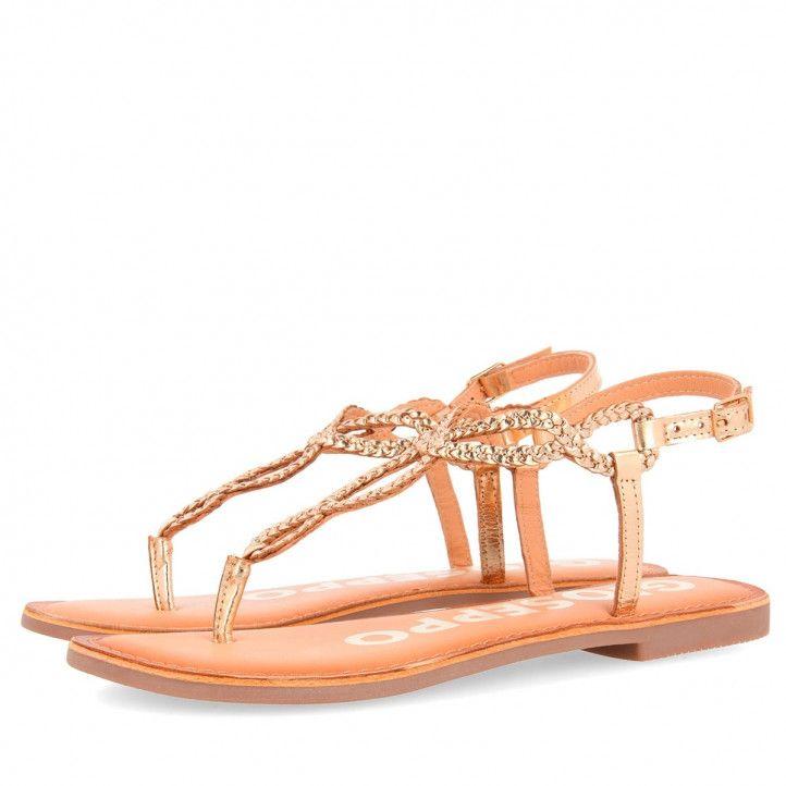 Sandalias planas Gioseppo trenzada color oro - Querol online