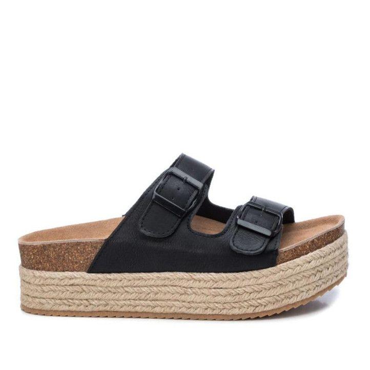 Sandàlies plataformes Owel negres amb sola estil espart, capdavantera rodona i acabats en mirall - Querol online