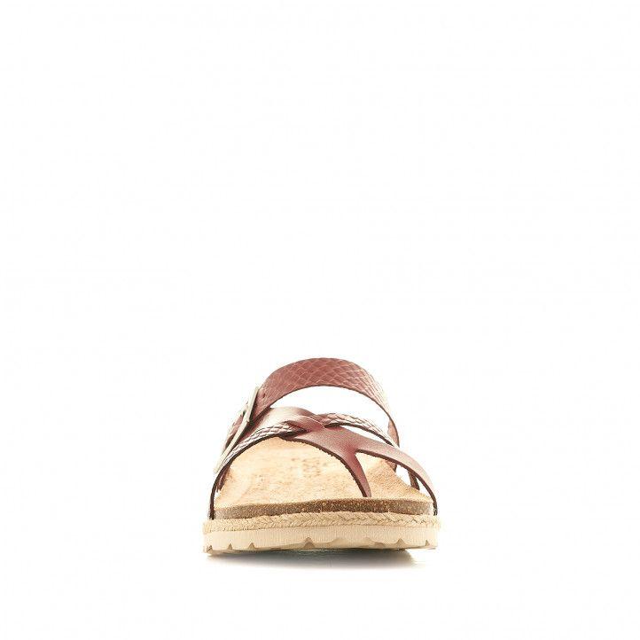 Sandalias planas Yokono granates con detalles animal print - Querol online