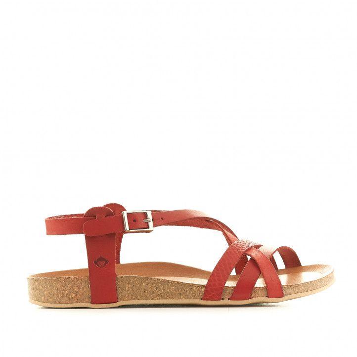 Sandàlies planes THE HAPPY MONK vermelles amb diverses tires i animal print - Querol online