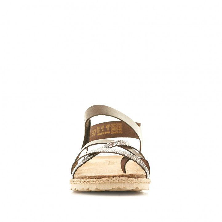 Sandalias planas Yokono marrones con tiras con estampado animal print - Querol online