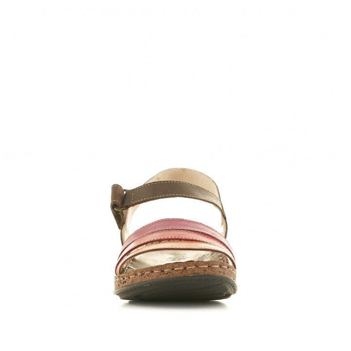 Sandalias planas Walk & Fly marrones con tres tiras rojas - Querol online