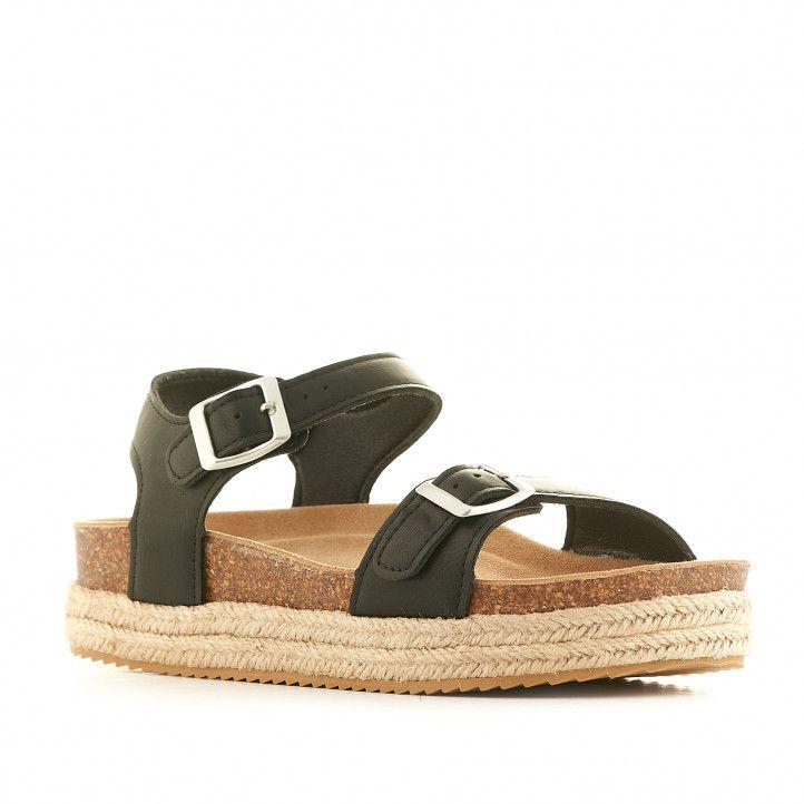 Sandalias plataformas Owel negras con plataforma y doble cuerda - Querol online