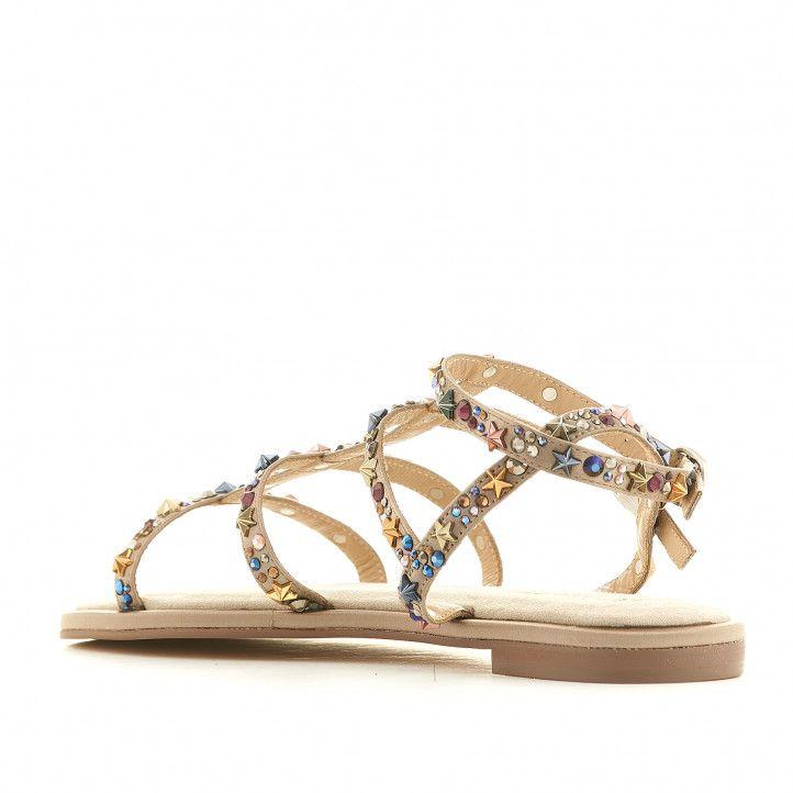 Sandalias planas Alma en pena beige con estrellas y brillantes - Querol online