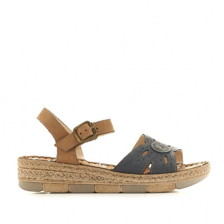 Sandalias cuña Walk & Fly azules cogidas al tobillo y con detalles perforados - Querol online
