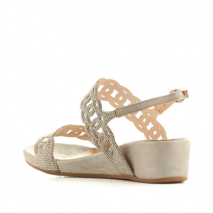 Sandàlies falca Alma en pena grises amb interior color crema - Querol online