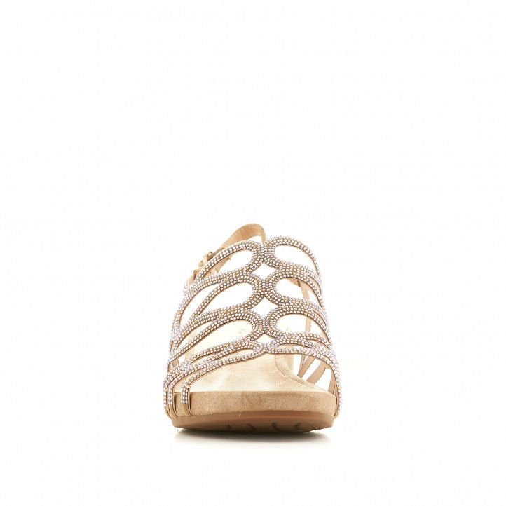 Sandalias cuña Alma en pena marrones claro con tiras serpenteante - Querol online