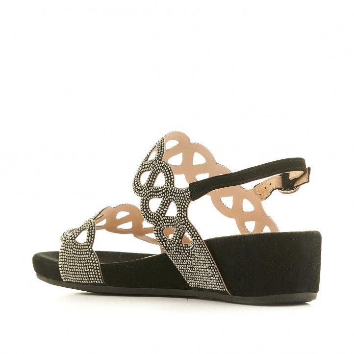 Sandalias cuña Alma en pena negras con detalles metalizados - Querol online
