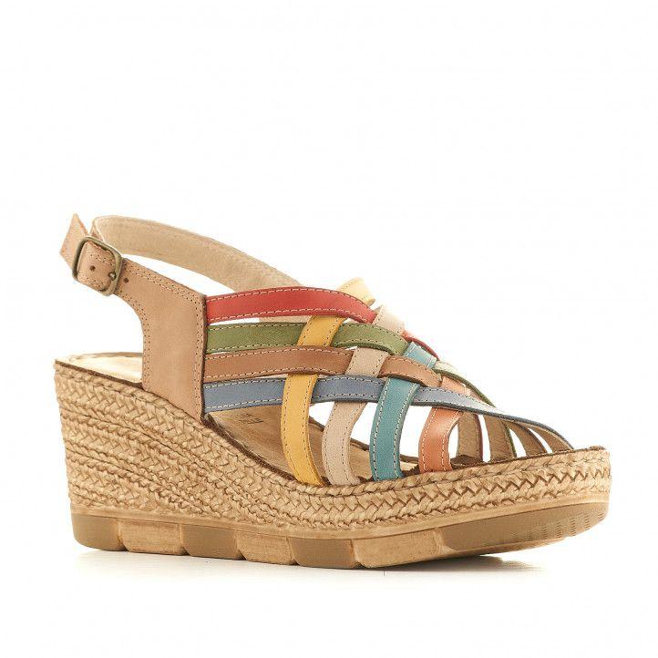 Sandalias cuña Walk & Fly marrones con tiras multicolor - Querol online