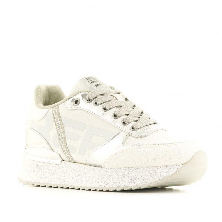 Zapatillas deportivas Replay blancas con detalles grises - Querol online