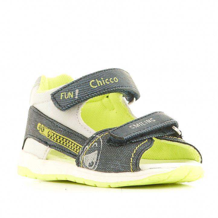 Sandalias abotinadas Chicco azules con interior verde - Querol online